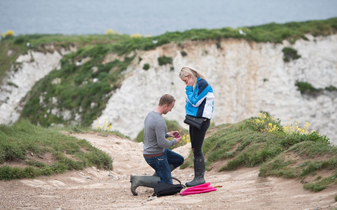Surprise proposal photography on Old Harry's Rock