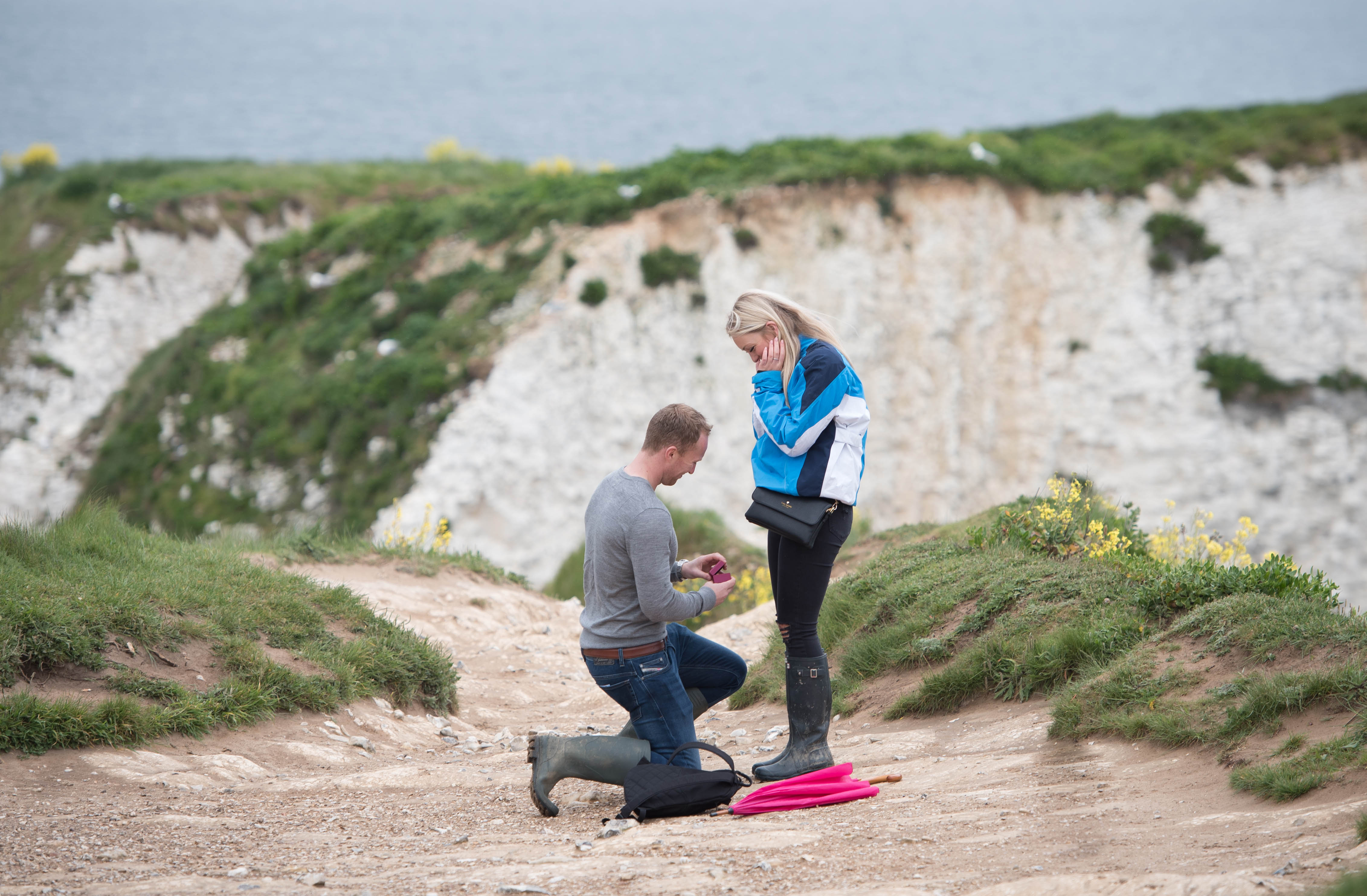 surprise wedding proposal on Old Harry's Rock