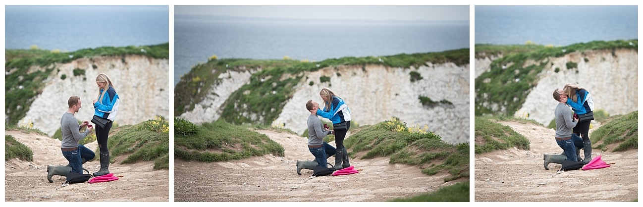 Wedding Proposal on Old Harry's rock by Bournemouth Photographer