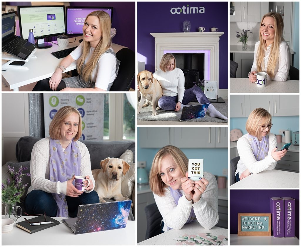 branding shoot with marketing company and office dog
